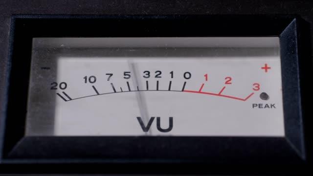 Display of VU meter working in recording studio