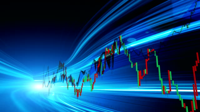 display stock market data and graph concept - candeliere video stock e b–roll