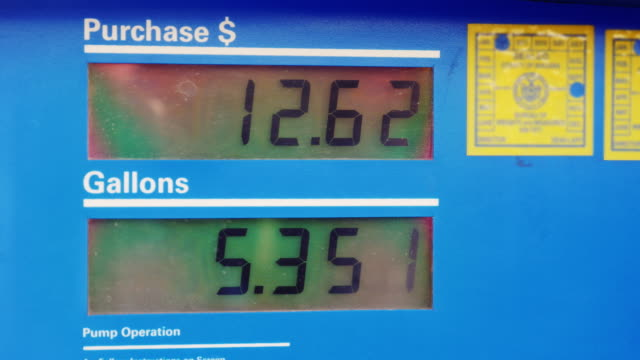 Display with the price of gasoline and the amount of fuel filled in halons. At the gas station video