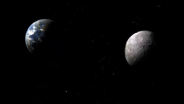 vídeos de stock, filmes e b-roll de distância entre a terra e a lua no espaço interplanetário - distante