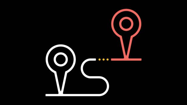 distance tracker line icon animation with alpha - położenie filmów i materiałów b-roll