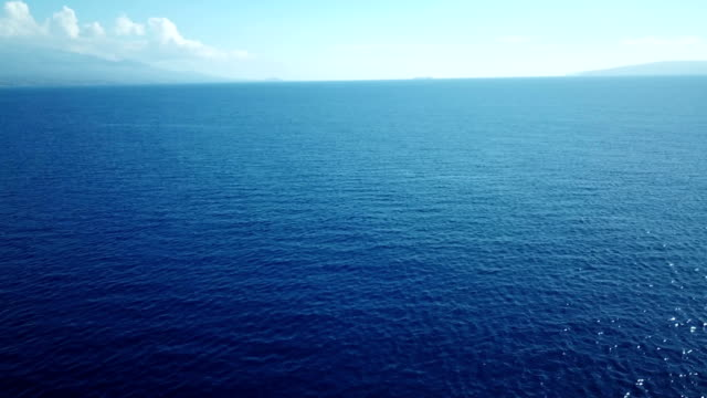 Distant Clouds Hang Over Horizon and Blue Ocean Expanse video