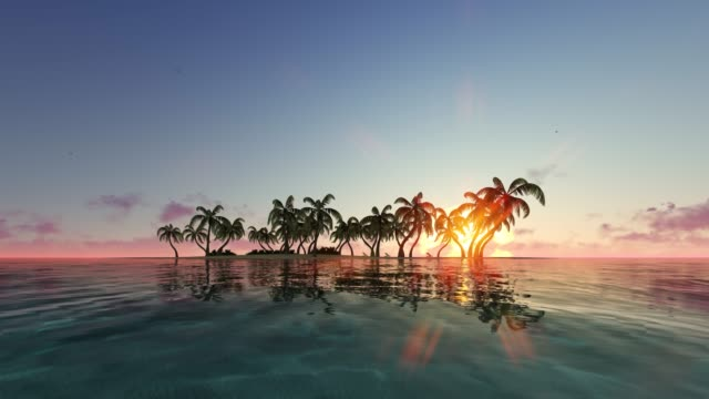 Distant oasis at sunrise, sunset seamless footage. Empty tropical beach with palm trees and swaying ocean waves looped animation. Scenic seascape in morning, evening sunlight realistic video