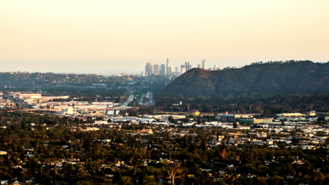 Distant view of Los Angeles skyline video