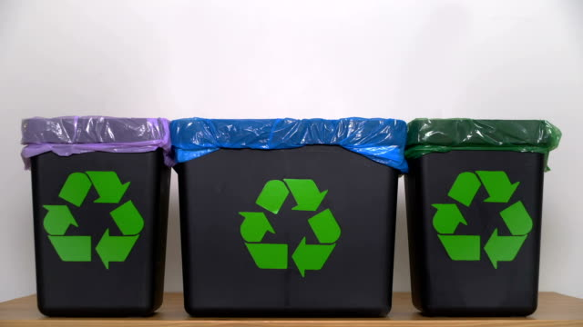 distribution of waste for recycling at home. - glass world video stock e b–roll