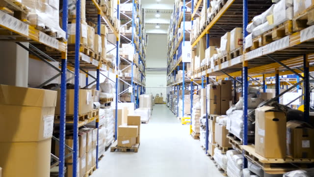 Distribution warehouse with packages video