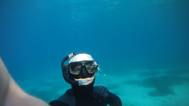 HD: Diver Point Of Swimming Back To Surface video