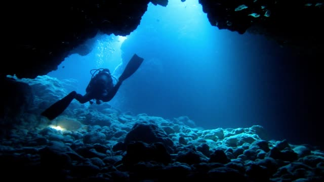 diver swimming in a submarine cave - дайвинг стоковые видео и кадры b-roll