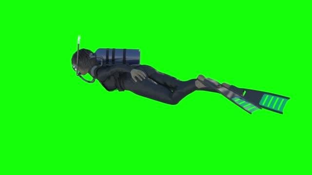 vídeos y material grabado en eventos de stock de diver mujer swimcycle scuba diving cylinders side green screen 3d rendering animation - buceo con equipo
