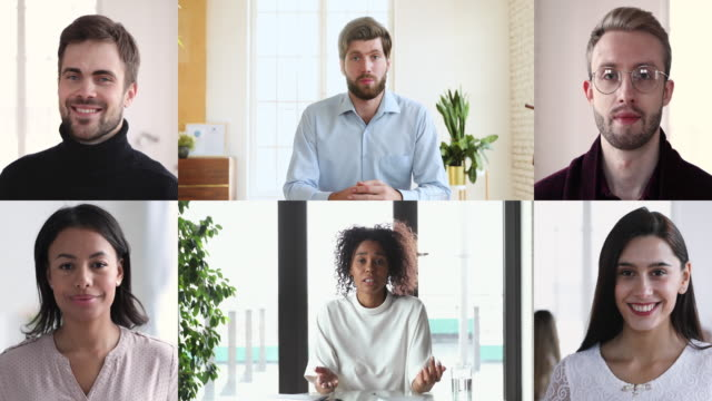 Diverse business people group video conferencing in collage chat