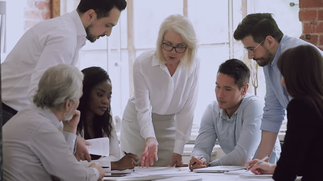 Diverse business team and old woman leader brainstorm on paperwork