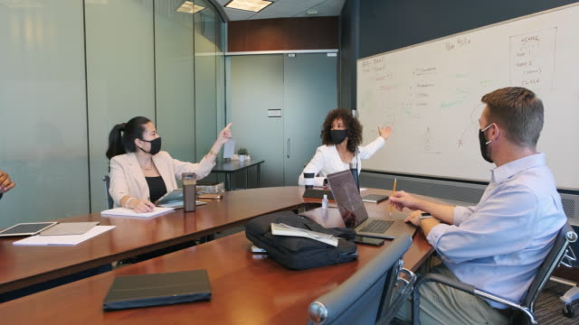 Diverse Business Team in a Meeting Wearing Protective Face Masks