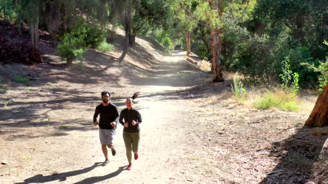 vídeos de stock e filmes b-roll de diverse couple running fitness - afro americano