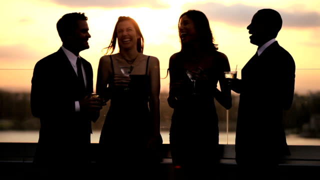 Diverse friends having fun at luxury cocktail outdoor sunset party video