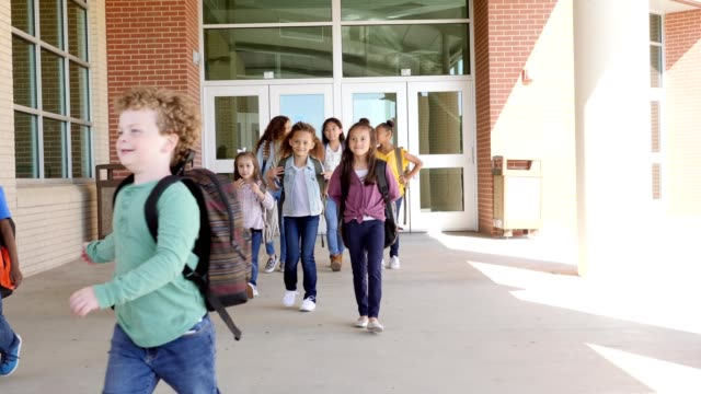 Diverse group of students leave school at the end of the day Diverse group of mixed age school children walk out of the school building at the end of the school day. They talk with one another while walking out of the school building. indian family stock videos & royalty-free footage