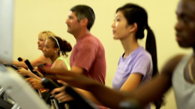 Diverse group running on Ellipticals video