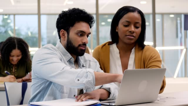 Diverse male and female college students work on project together