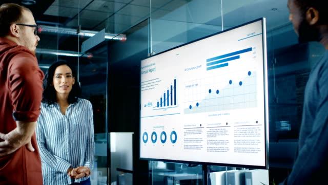olika team av business arbetstagare i konferensrum har diskussionen om statistik och grafer visas på en presentation-tv. - gemensam samlingsplats bildbanksvideor och videomaterial från bakom kulisserna