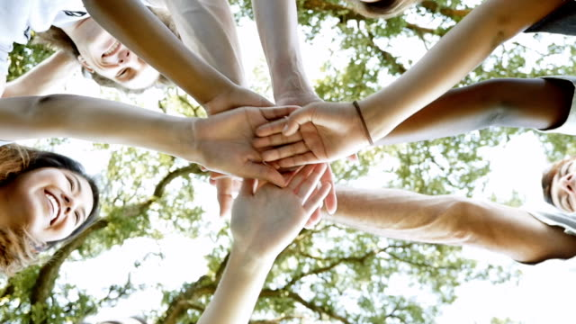 Diverse volunteer group with hands in huddle before community project Diverse group of children and adults are huddled together outdoors. Their hands are in a circle before or after community service project. Volunteers are smiling and celebrating success. sociology stock videos & royalty-free footage