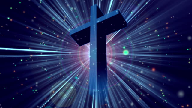 Divine Worship Cross Blue Loopable Background video