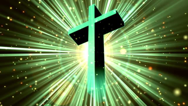 Divine Worship Cross Cyan Loopable Background video