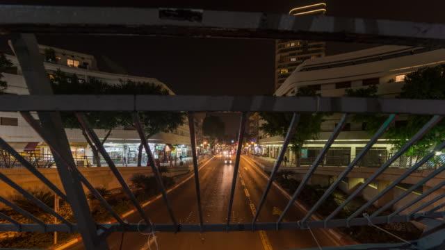 Dizengoff Street, Tel Aviv Traffic From Dizengoff Circle Night Time Lapse video