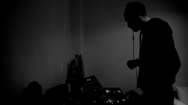 Dj playing music. Black and white video
