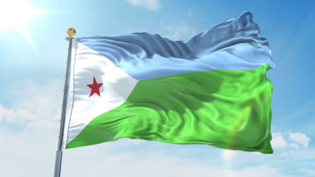 Djibouti flag waving in the wind against deep blue sky. National theme, international concept. 3D Render Seamless Loop 4K Djibouti flag waving in the wind against deep blue sky. National theme, international concept. 3D Render Seamless Loop 4K allegory painting stock videos & royalty-free footage