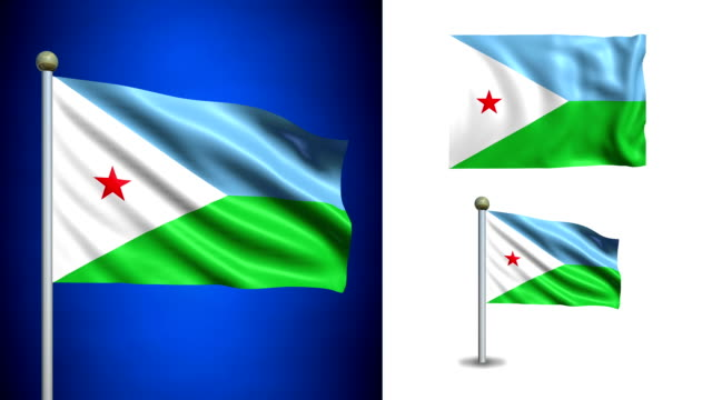 Djibouti flag - with Alpha channel, seamless loop! Djibouti flag - with Alpha channel, seamless loop! horn of africa stock videos & royalty-free footage