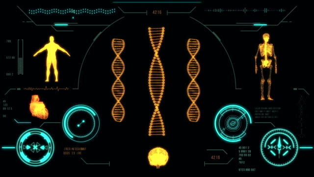 Dna strand scan. Futuristic medical user interface with HUD and infographic elements. video