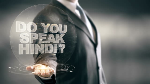 Do You Speak Hindi Businessman Holding in Hand New technologies