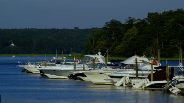 Docked Boats A few boats docked on Long Island recreational boat stock videos & royalty-free footage