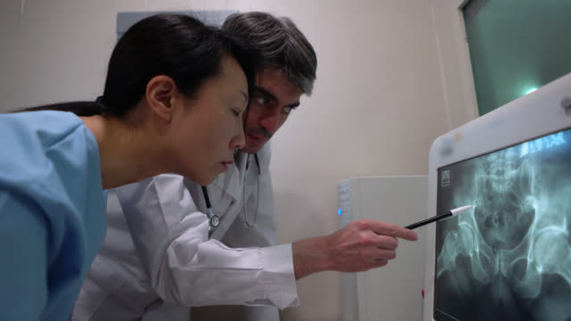 doctor and nurse looking at a pelvic xray pointing at the screen - radiografia video stock e b–roll