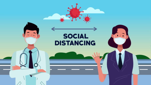 Bидео doctor and receptionist with social distancing message campaign