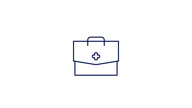 Doctor Bag Line Icon Animation. 4K Motion Graphic with alpha channel First Aid Kit Line Icon Animation. 4K Motion Graphic with alpha channel clip art stock videos & royalty-free footage