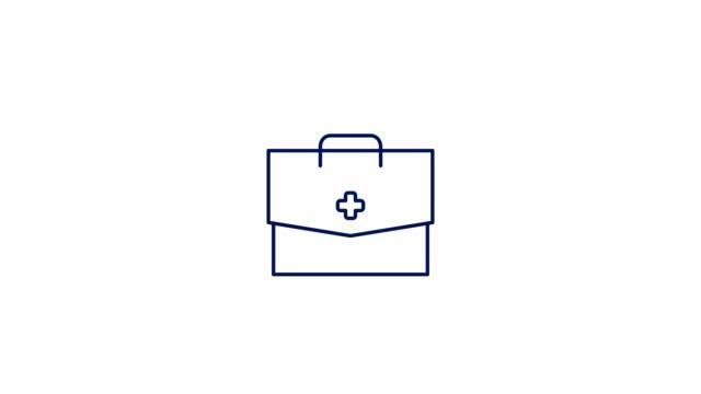 doctor bag line ikon animation. 4k rörelsegrafik med alfakanal - korsform bildbanksvideor och videomaterial från bakom kulisserna