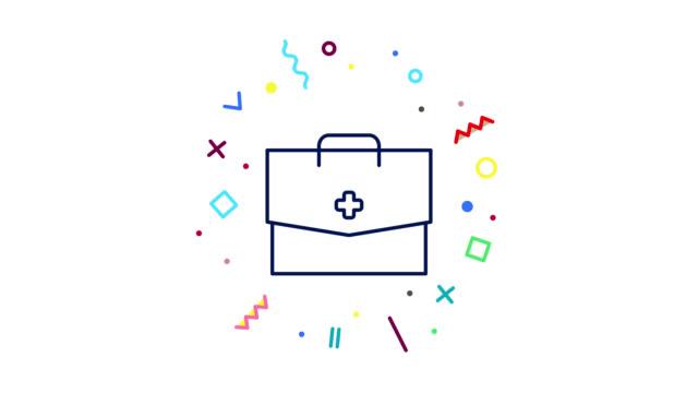 vídeos de stock, filmes e b-roll de animação do ícone da linha doctor bag. gráfico de movimento 4k com canal alfa - clip art