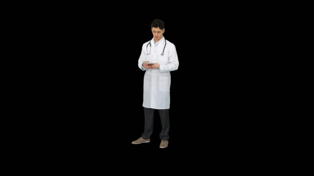 Doctor counting euro and dancing, Alpha Channel