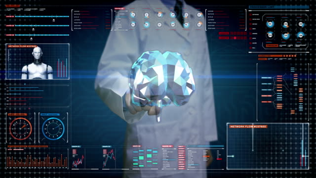 Doctor, Engineer touching Brain, connect digital lines in digital display, expanding artificial intelligence Line net tunnel with graph, diagram, User interface.