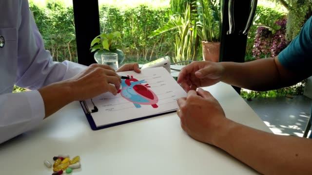 vidéos et rushes de docteur expliquant le coeur au patient au sujet des détails et de l'opération de risques. soins de santé et concept médical. - expliquer