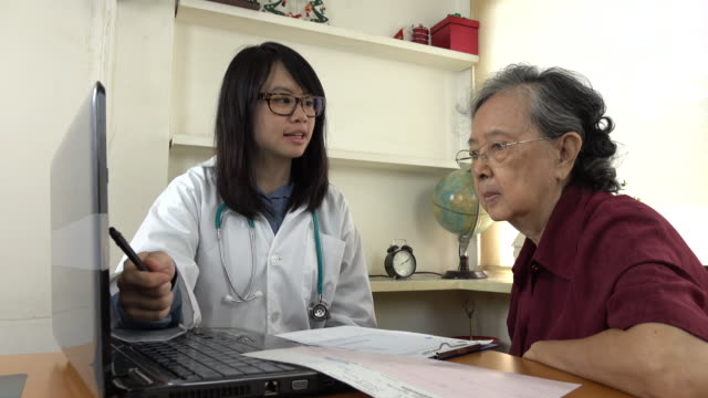 Doctor explaining medication to old woman patient with Laptop video