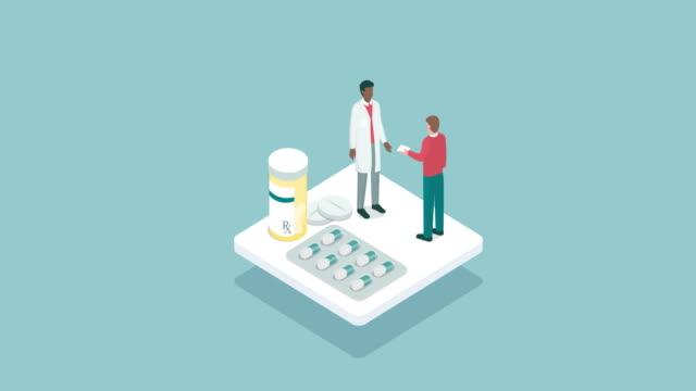 vídeos de stock e filmes b-roll de doctor giving a prescription to a patient - shop icon
