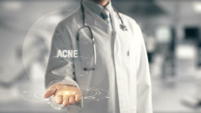 Doctor holding in hand Acne video