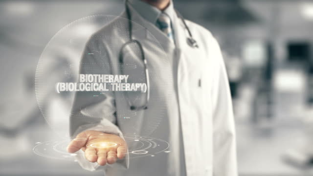 Doctor holding in hand Biotherapy Biological Therapy video