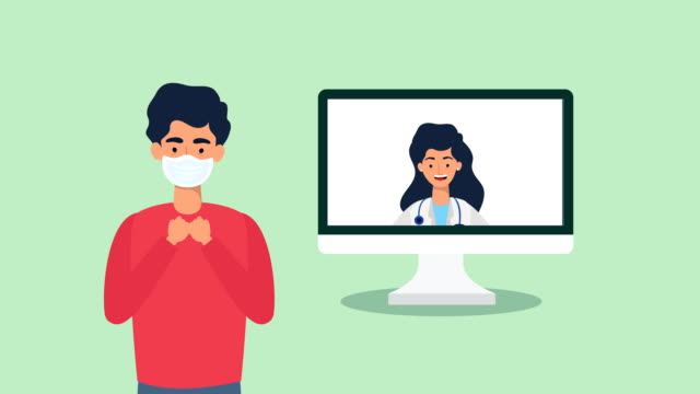 doctor in computer telemedicine animation video