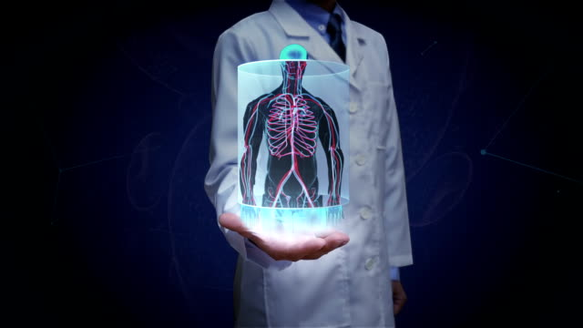 Doctor open palm, Zooming front body and scanning Human blood vessel system. Blue X-ray light. video