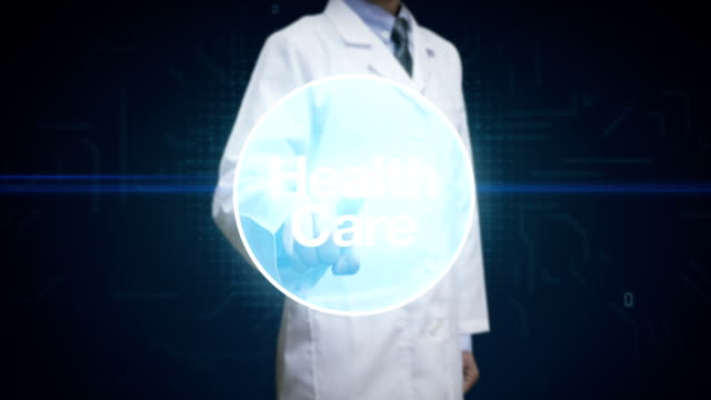 Doctor, Scientist touching screen, Various Health care technology icon connect global world map, dots makes world map. internet of things.2. video