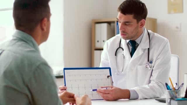 vidéos et rushes de médecin montrant cardiogramme au patient à l'hôpital - bloc note