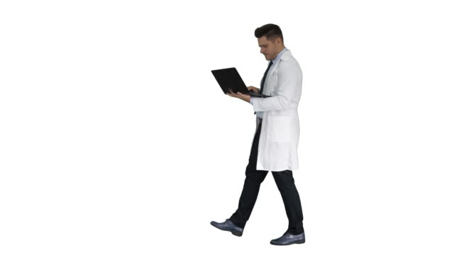 Doctor showing results in laptop on white background