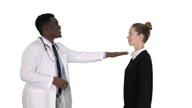 Doctor telling good news and patient leaves on white background